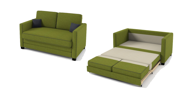 Boom 2 Seater Sofa Bed Green Fabric
