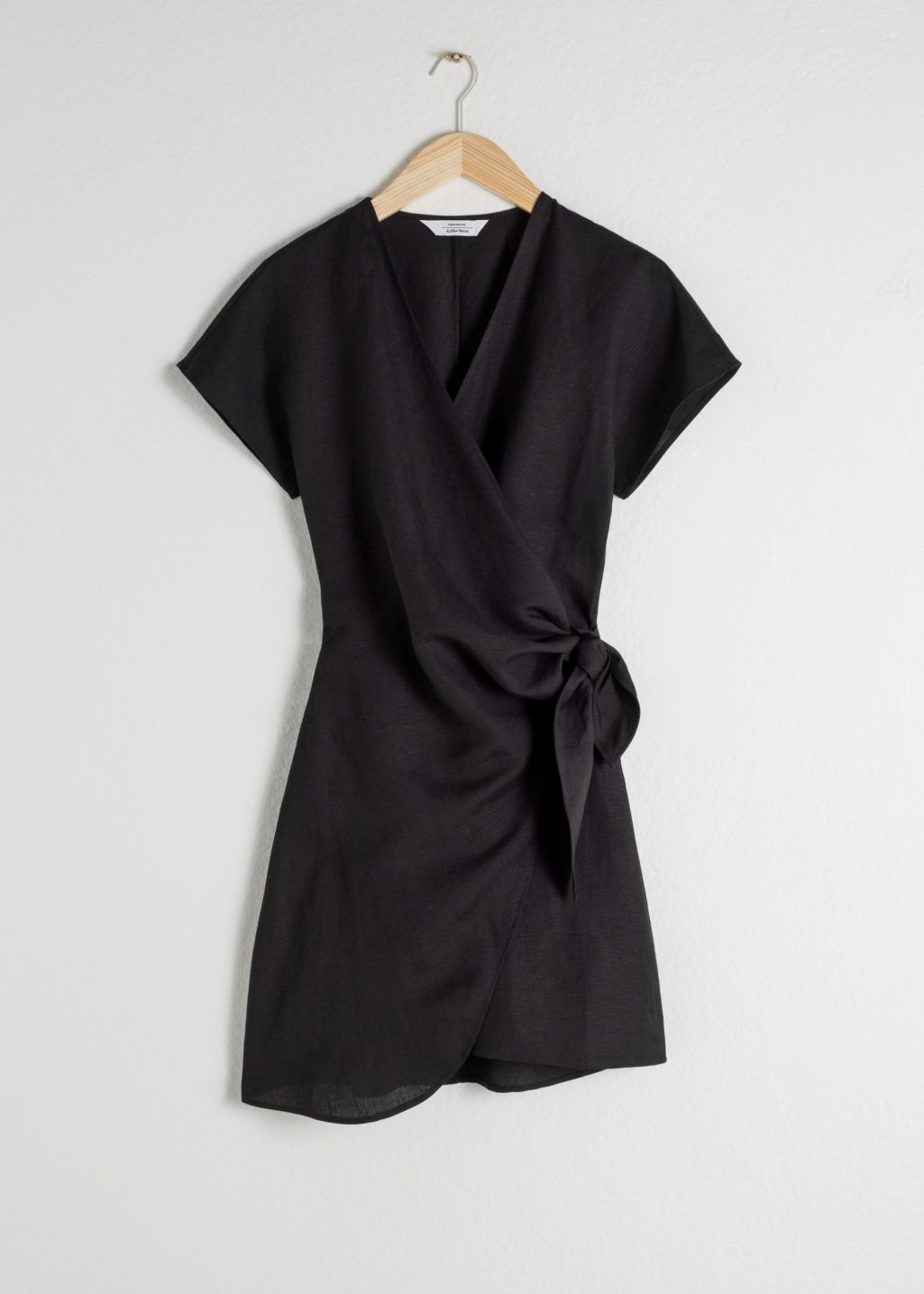 Linen Blend Wrap Mini Dress 3