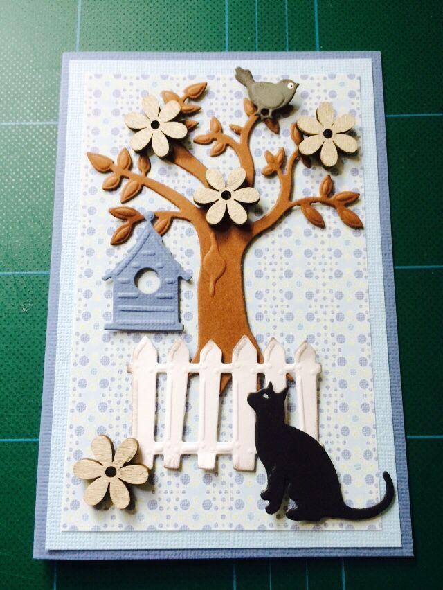 Kort/card katte/cat Træ, hegn