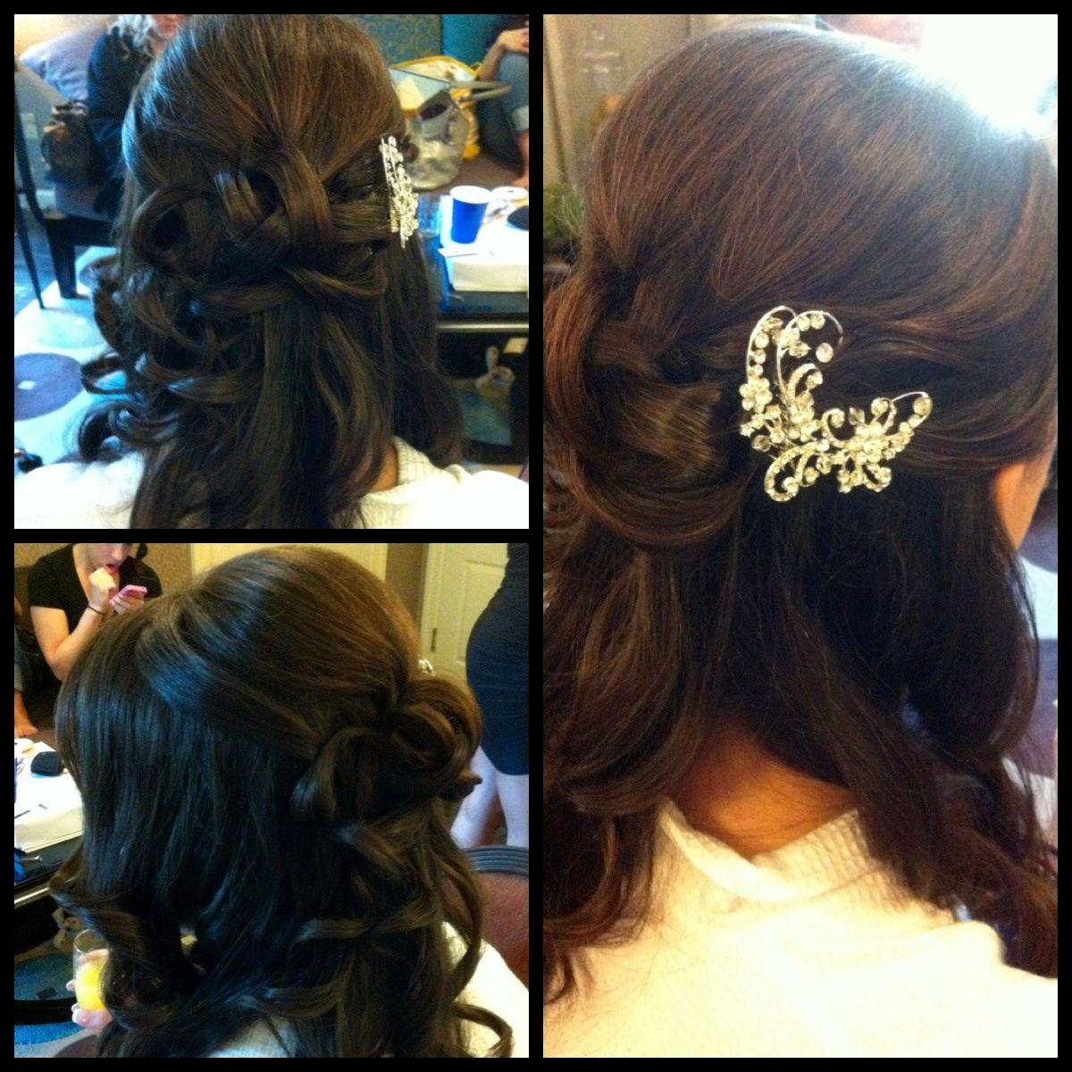 Wedding ideas 1/2 updo bridal hair , headpiece for wedding, bling for hair