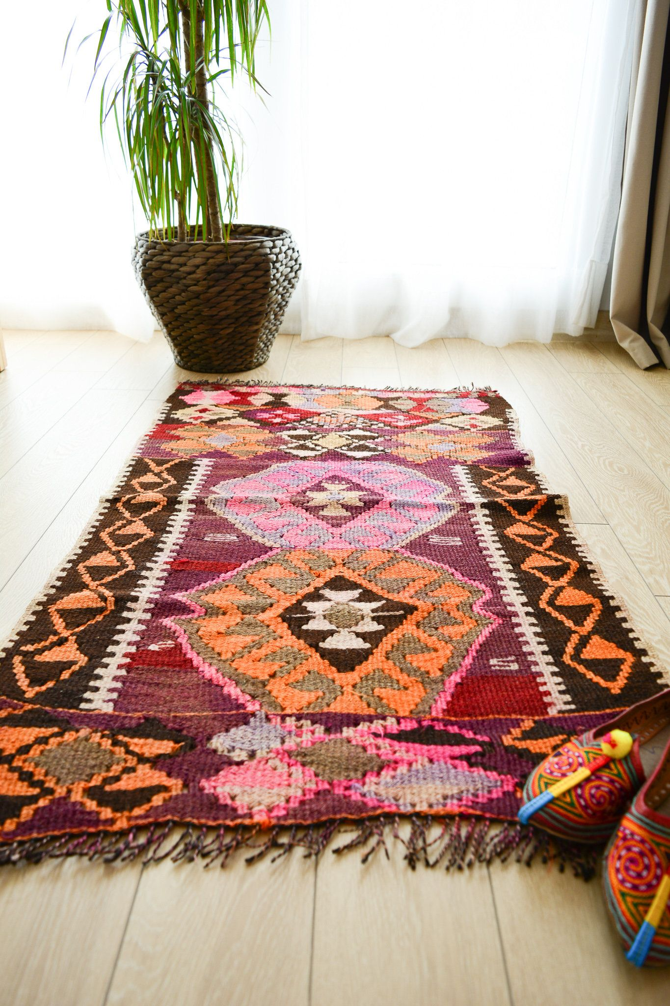 Small kilim rug area rug turkish bohemian rug vintage