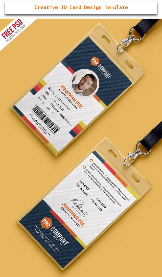 30 Creative ID Card Design Examples With Free Download | Pinterest