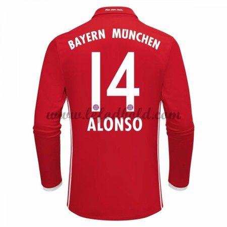 Billige Fodboldtrøjer Bayern Munich 2016-17 Alonso 14 Langærmet Hjemmebanetrøje