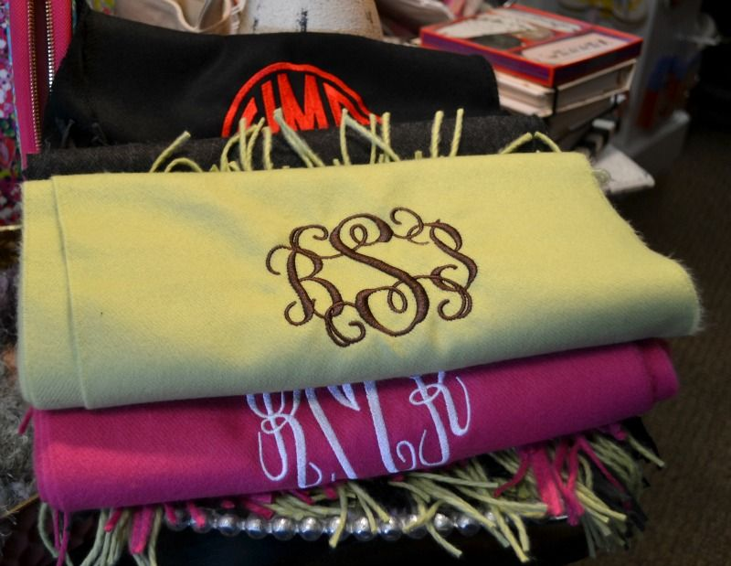 SB Louisville 50 gifts under $50-Monogrammed scarves at Two Chicks & Co. are $12 (includes monogram).
