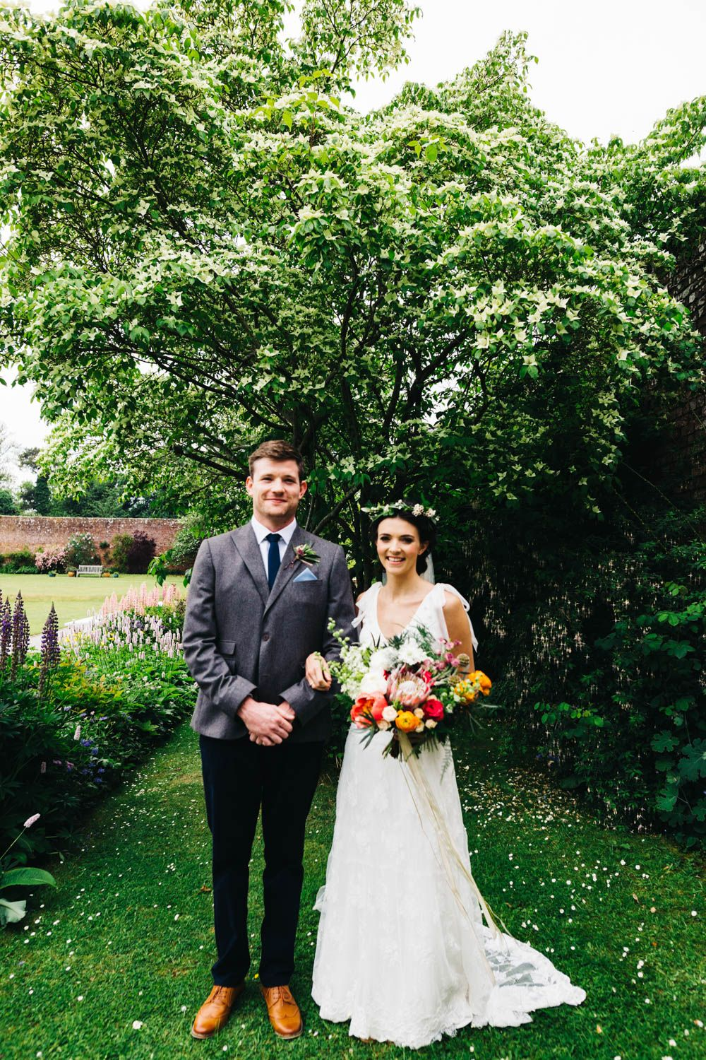 Bride Brother Jesús Peiró Bridal Gown Outdoor Wedding Ballyscullion Park Northern Ireland Mango Bridesmaid Dresses Honey And The Moon
