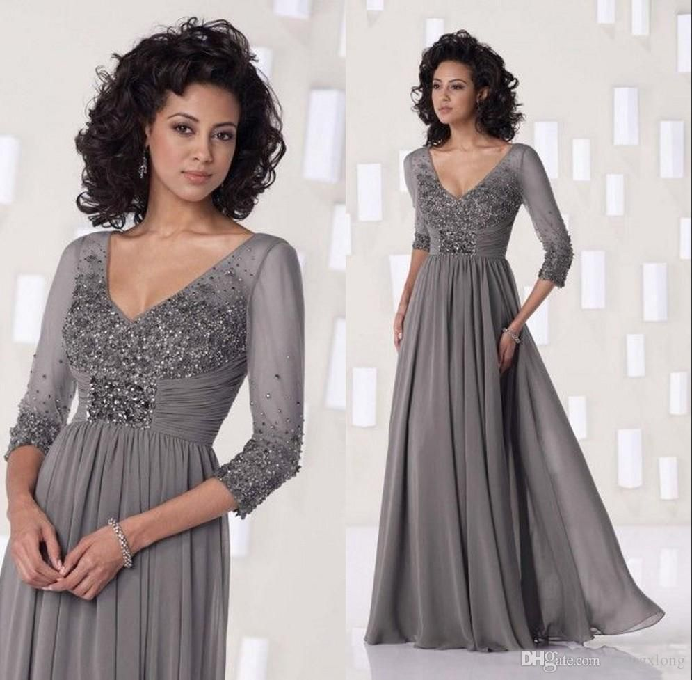 Cheap elegant lace bodice full sleeves chiffon gowns mother of the