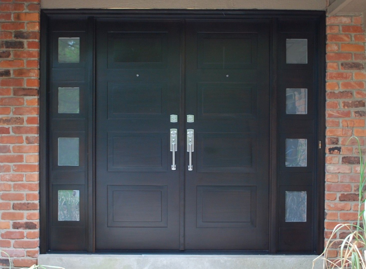 modern front entry doors in african mahogany custom made front entry doors with frosted glass side lights