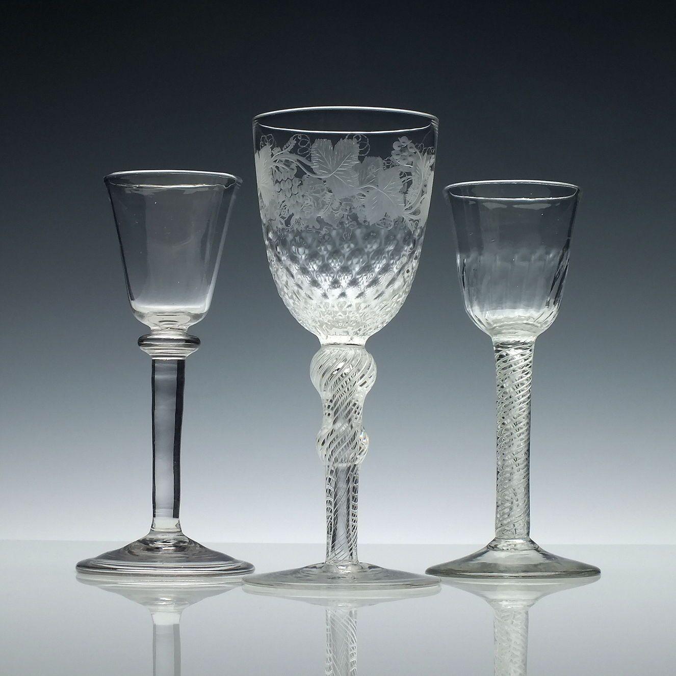 Decorative Arts Provided Set Of Six 19th Century Opaque Twist Wine Glasses C1860