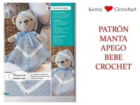 MANTA APEGO de bebe con oso a crochet patrón gratis - YouTube ...