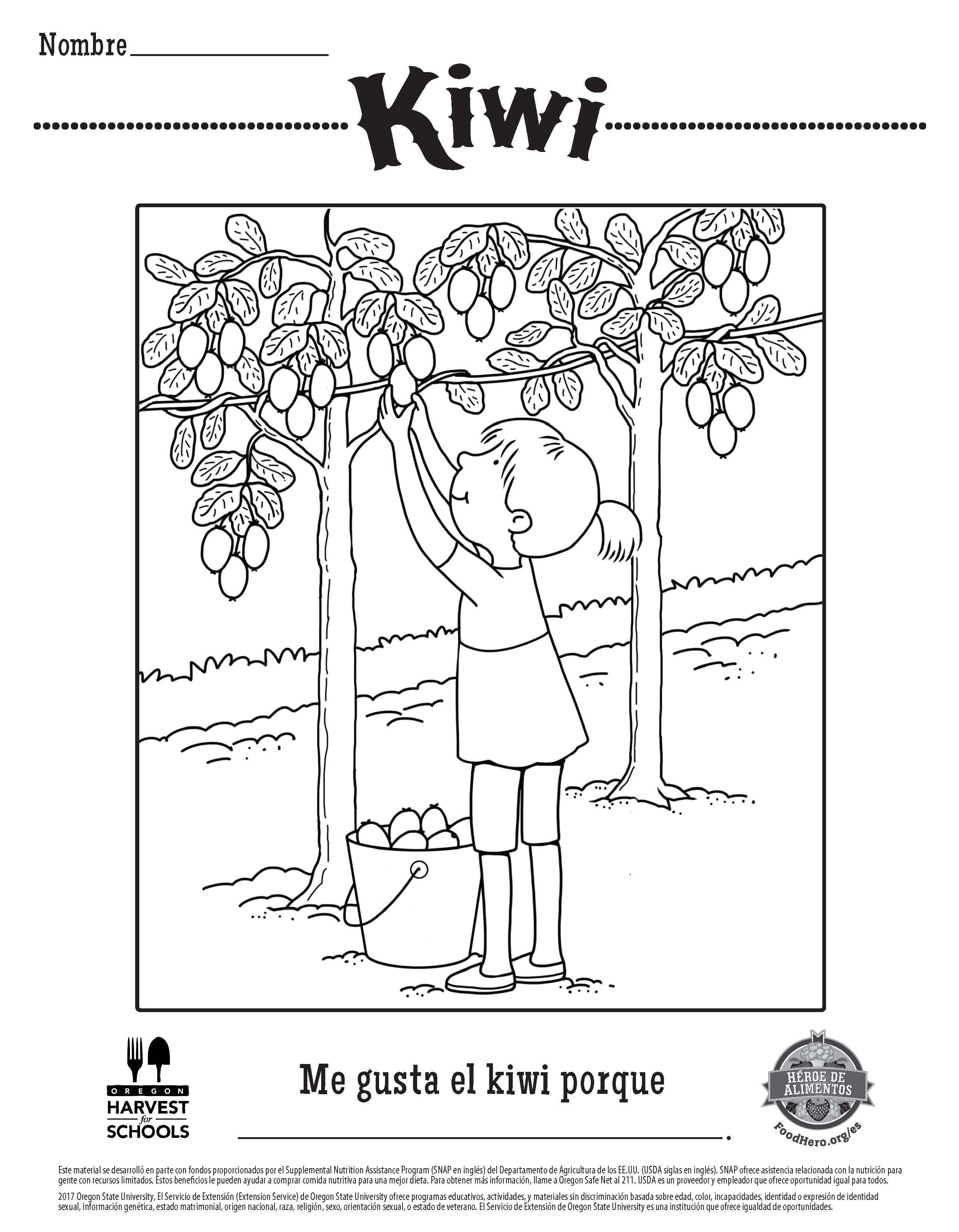 Children\'s Coloring Sheet Free Printable Food Hero Kiwi in Spanish ...