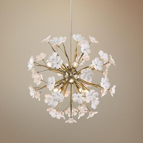 Posy 23 Quot W White Gold Large Porcelain Flower Pendant 13h52 Www Lampsplus Com Porcelain Flowers Hanging Light Fixtures Chandelier In Living Room