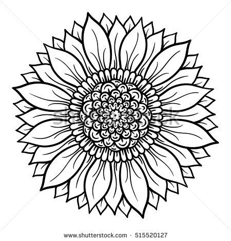 Vector Illustration Flower Mandala Coloring Page Sunflower Coloring Pages Mandala Coloring Flower Coloring Pages