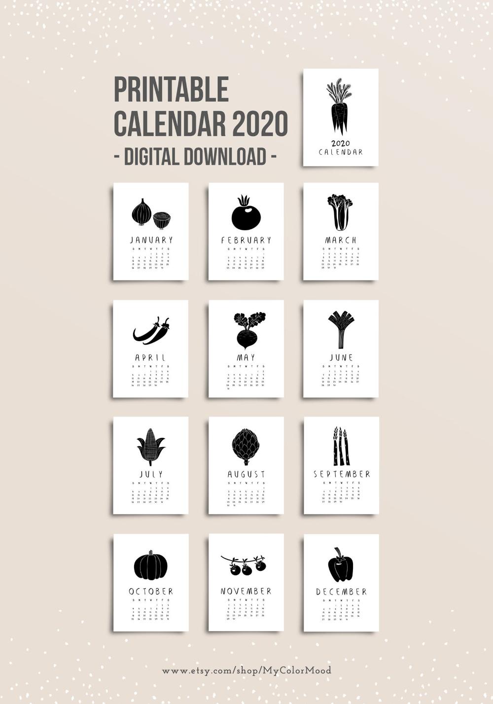 Monthly Calendar 2020 Printable Kitchen Calendar Pages Modern Rustic Wall Calendar Download Vegetable Vegan Food Calendar Foodie Gift Calendar Calendar 2020 Calendar Pages