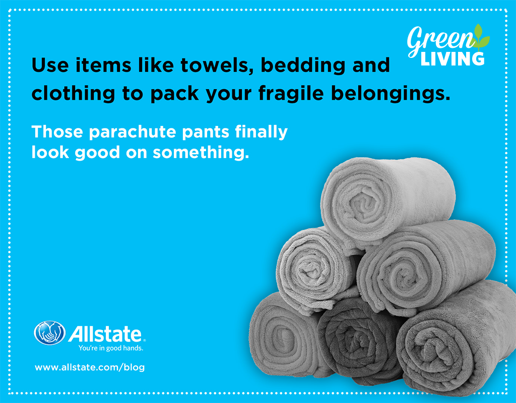 Packing for a move? Instead of packing all items separately, use towels and bedding to pack up fragile items.