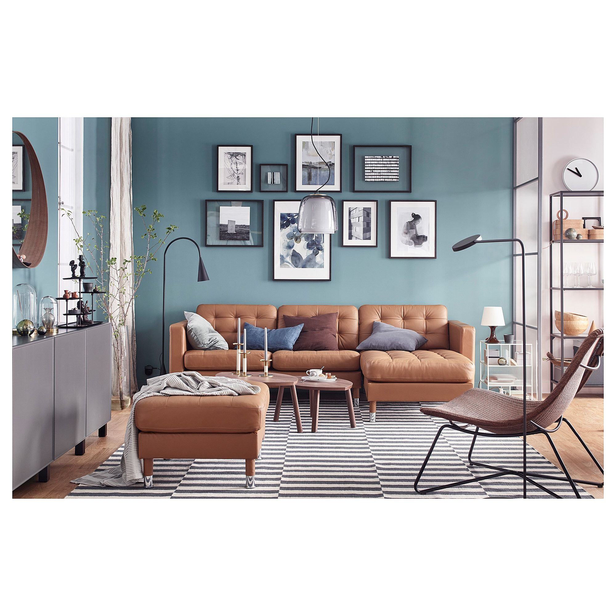 Landskrona Sofa With Chaise Grann Bomstad Golden Brown Metal