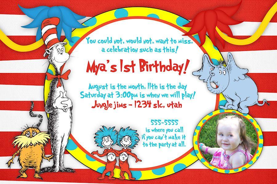 Birthday Invitations Dr Seuss Birthday Invitation Printable Cat In The Hat Inv Dr Seuss Birthday Party Dr Seuss Invitations Printable Birthday Invitations