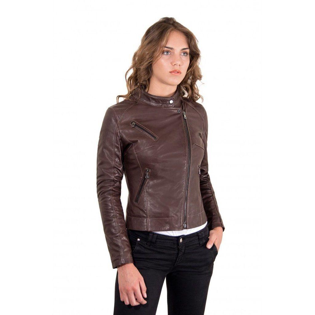 Women S Leather Jacket Biker Cross Zip Dark Brown Color Karim
