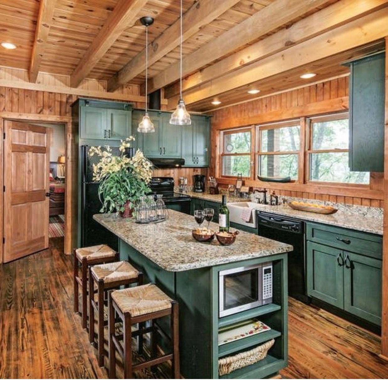 Log Home Farmhouse Kitchen Painted Cabinets Log Home Kitchens Cabin Kitchens Log Home Interiors