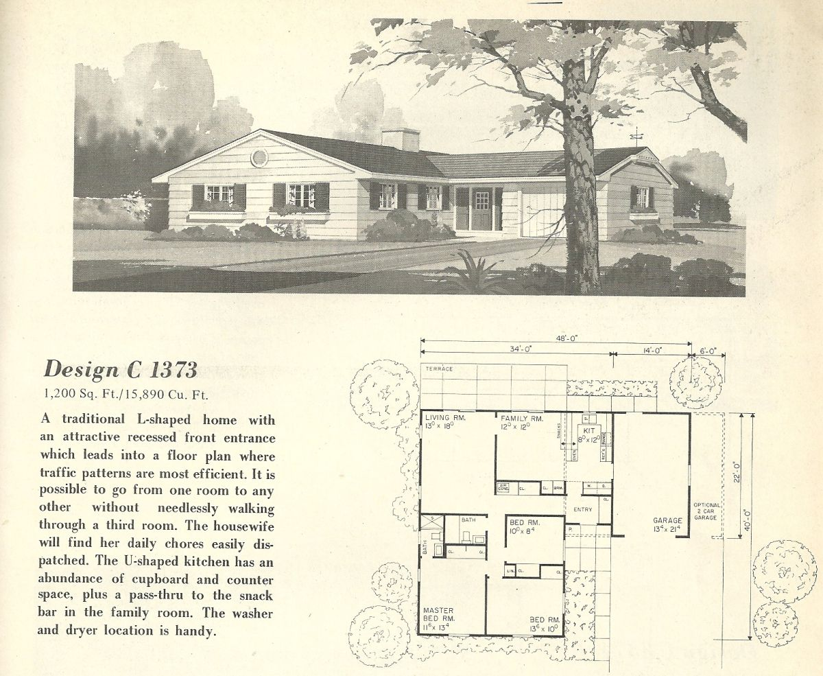 antique spacious mooramie house design   Vintage House Plans, 1960s Homes, Mid Century Homes ...
