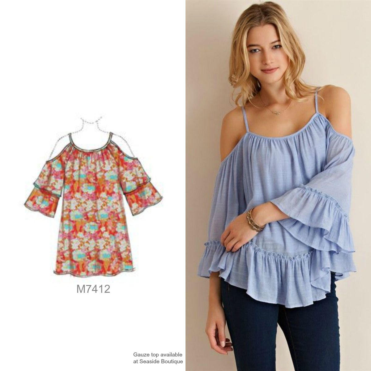 ebe0c8f86ee Sew the cold shoulder look with M7412 top pattern from McCall's ...