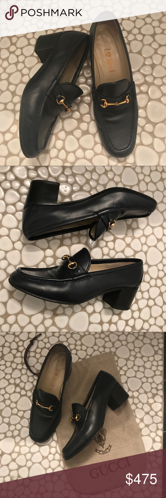 9362df90b11 Vintage Navy Blue Gucci Horsebit Loafers - amazing These beautiful navy  Gucci loafers are like dinosaurs