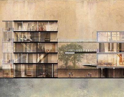 Architectural Thesis Presented By Section Collage To Describe Concept And Space