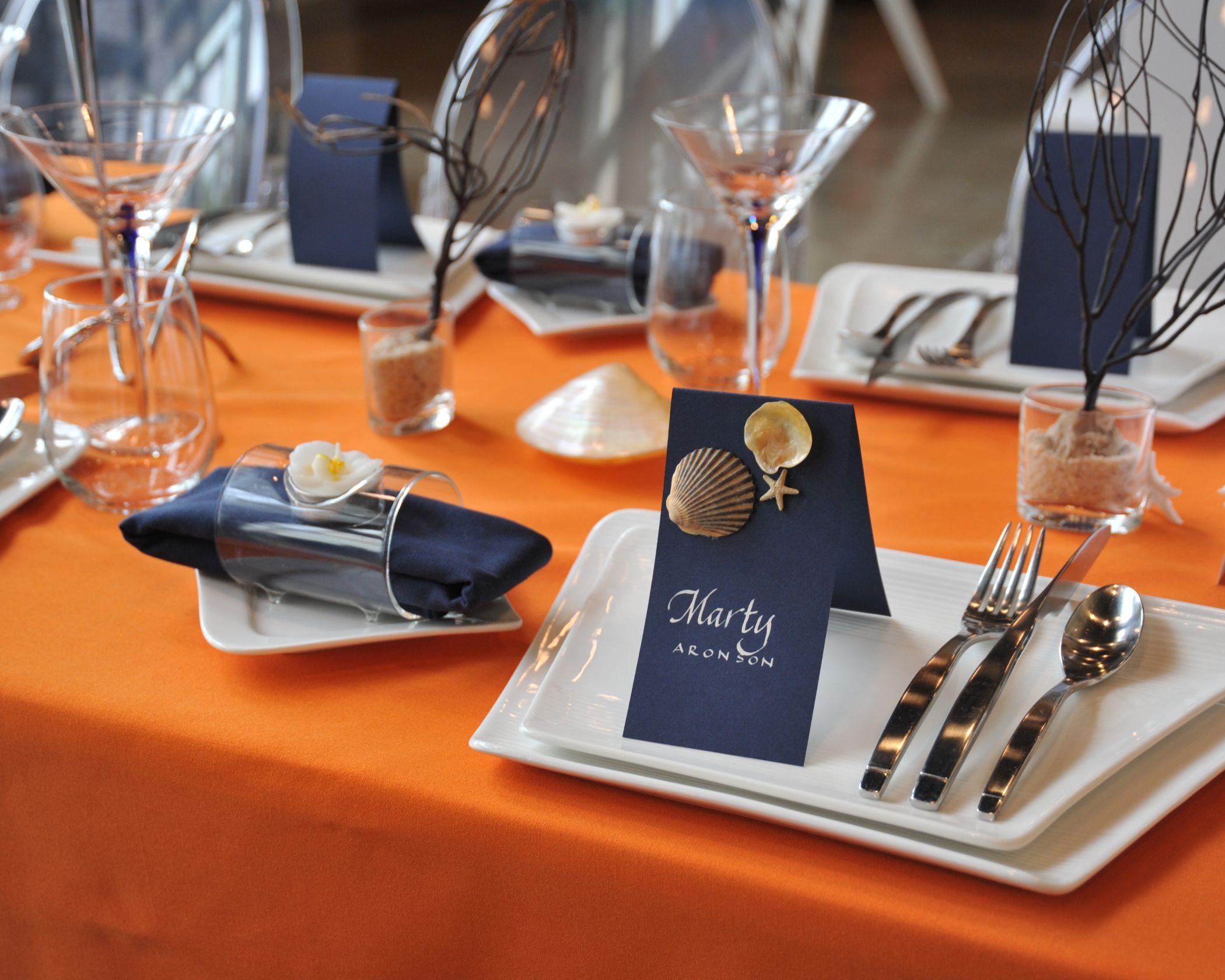 Navy u0026 Orange Table Setting & Navy u0026 Orange Table Setting | Design Table Series-July-Table ...