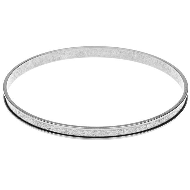 Nunn Design Bangle Bracelet, Circle with Channel 7/8 Inches, 1 Bangle, Antiqued Plated