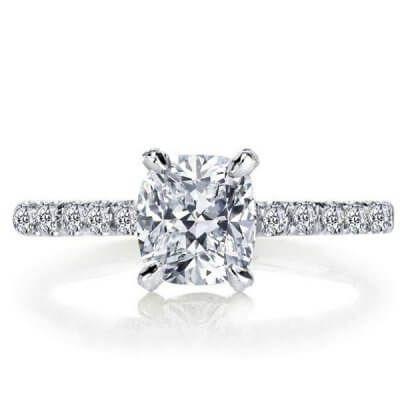 Italo Classic Cushion Created White Sapphire Engagement Ring #cushionengagementring