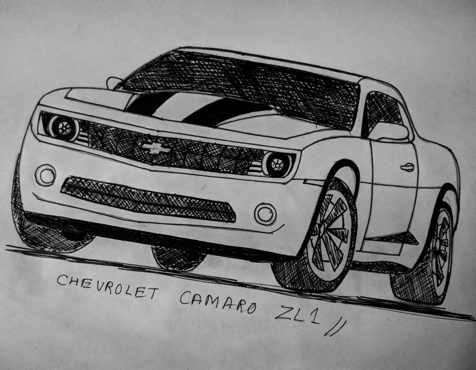Chevrolet Camaro Chevy Bumblebee Racing Drawing Muscle Car