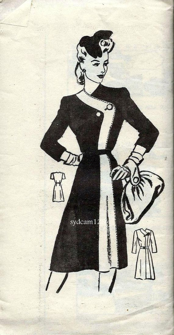 Vintage 1940s Coatdress Flared Skirt Three Quarter Sleeves...Mail ...