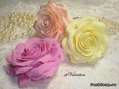 Роза полимерной глины мастер класс фото