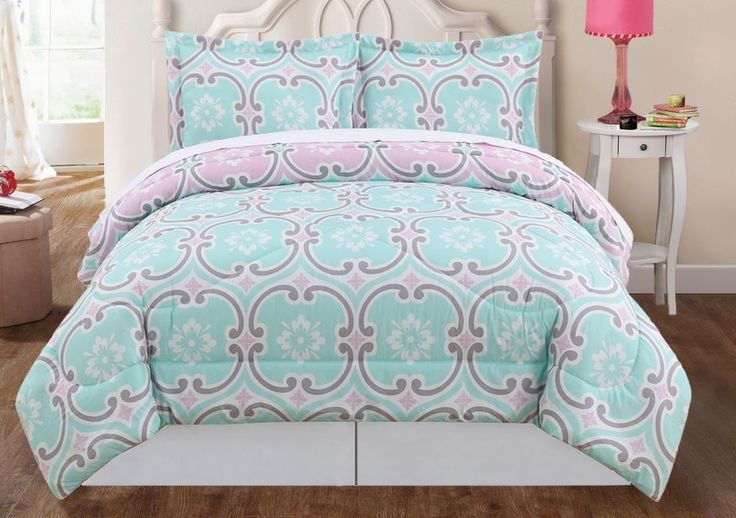Boutique Geometric Teal Green Gray Pink Twin Queen King Comforter