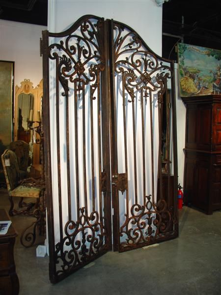 Pair Of Large Antique French Iron Entry Gates Late 1800s