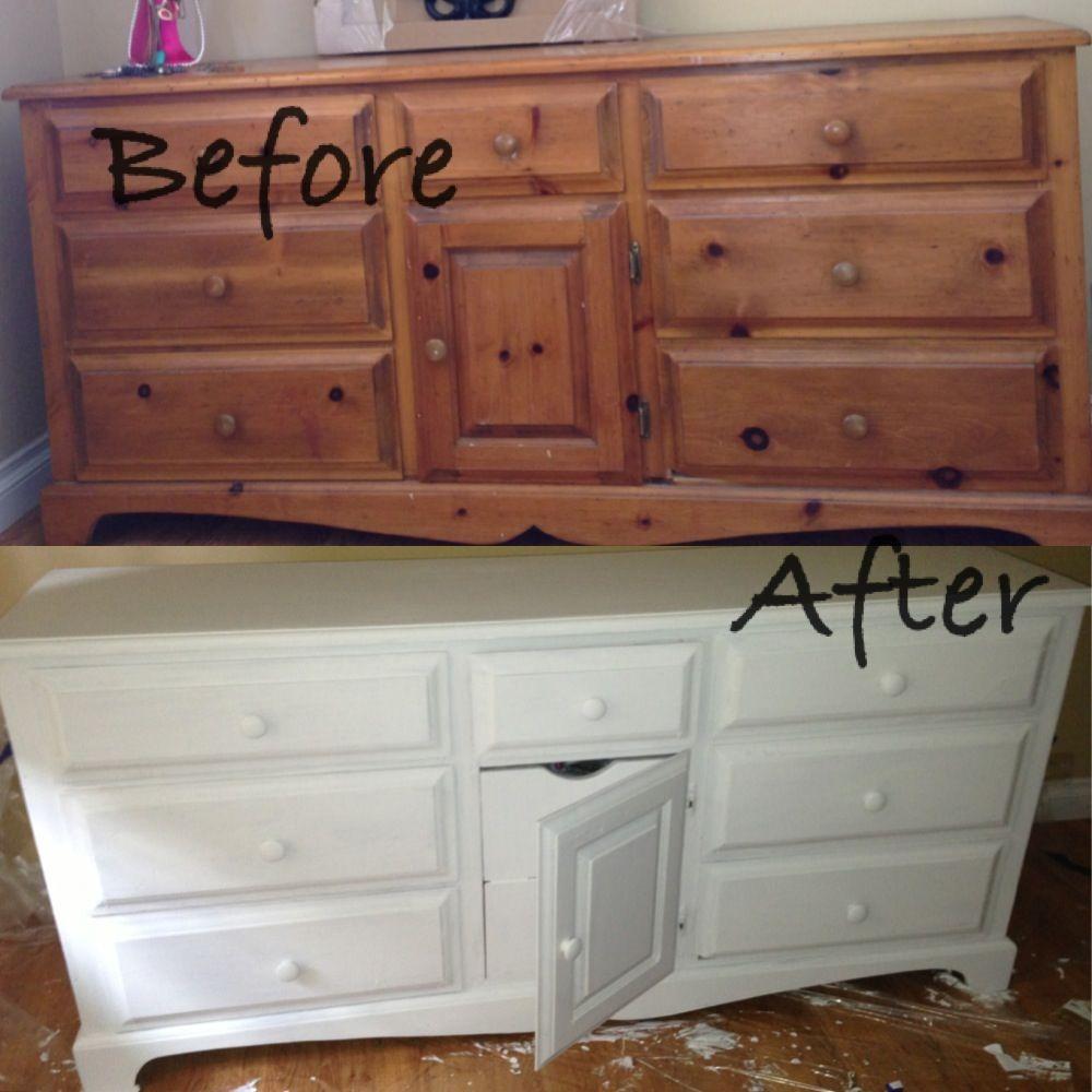 DIY Dresser : from old wooden dresser .. To chic modern plain ...