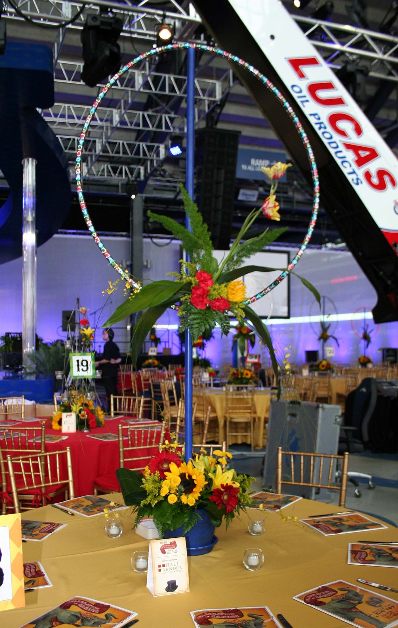 Circus themed floral designs for the celebration of caring