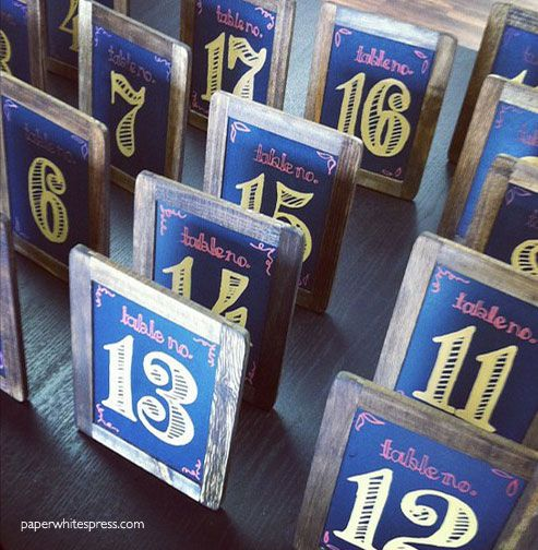 Painted Chalkboard Wedding Table Numbers by Paperwhites, a stationery boutique--check out the blog at southernafternoon.com