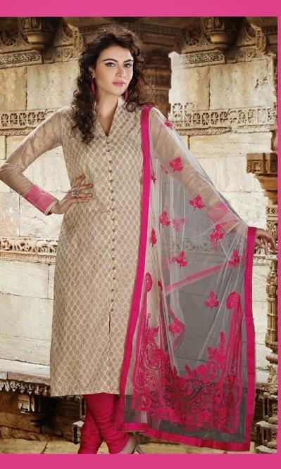 081a5223d6 USD 96.91 Cream Cotton Silk Chikan Work Churidar Salwar Kameez 30556