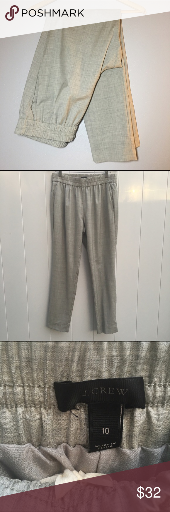 J. Crew Light Gray Harlow Pants J. Crew Harlow Pants. Light gray with crosshatch detail. Draw string on the inside. Lined. Size 10. Back pockets are sewn shut. 🐳 Sits at the hip. Relaxed through the hip and thigh. Slim leg. Elastic at the waist. 🐟 56% wool. 41% Viscose. 3% Elastane. Lining: 100% Polyester. 🐬 Stock photo taken from J. Crew's website to show the pants modeled. Thanks for looking! Please comment with questions! J. Crew Pants Trousers