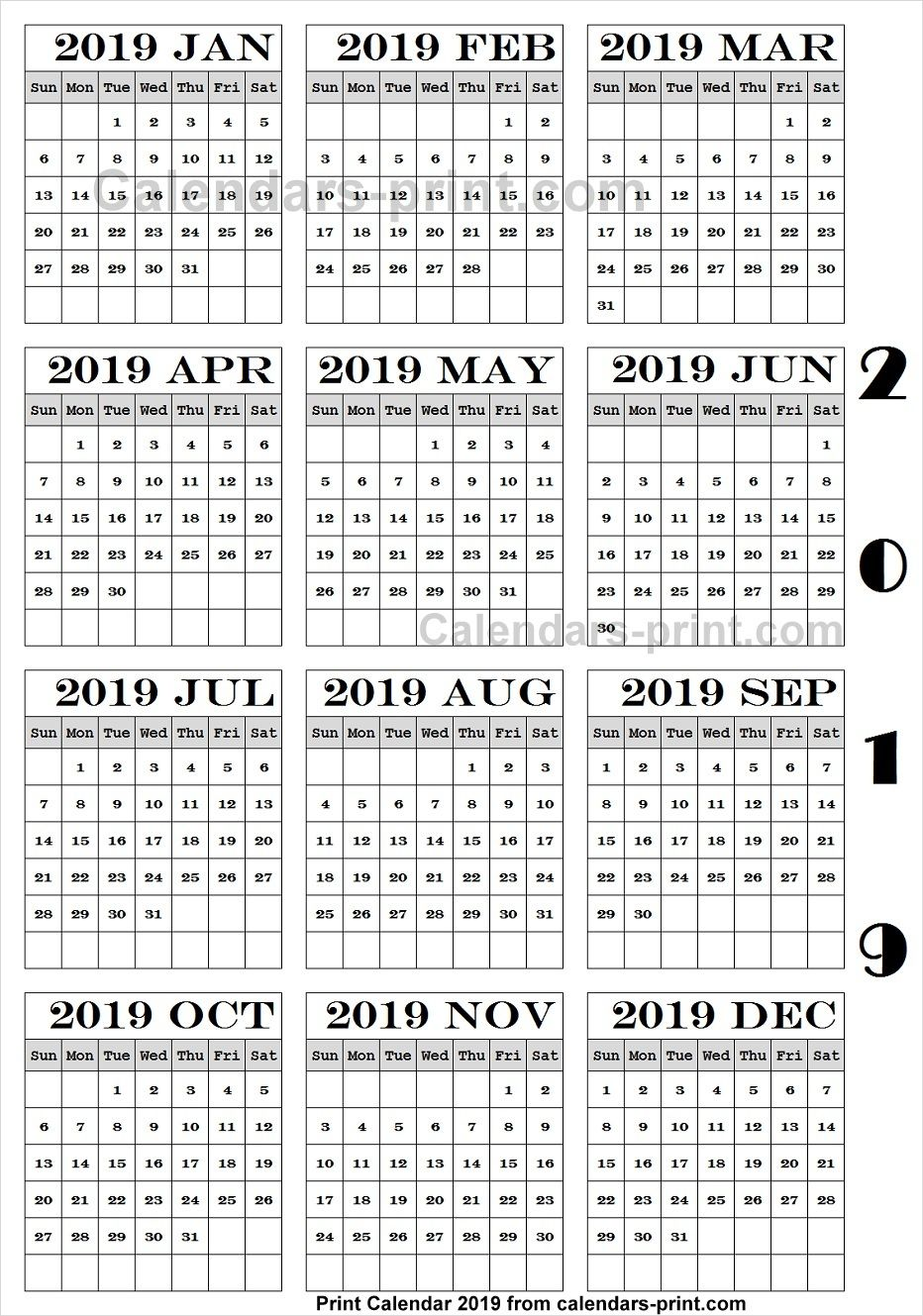 Calendar 2019 Pdf Download Calendar Pdf Templates
