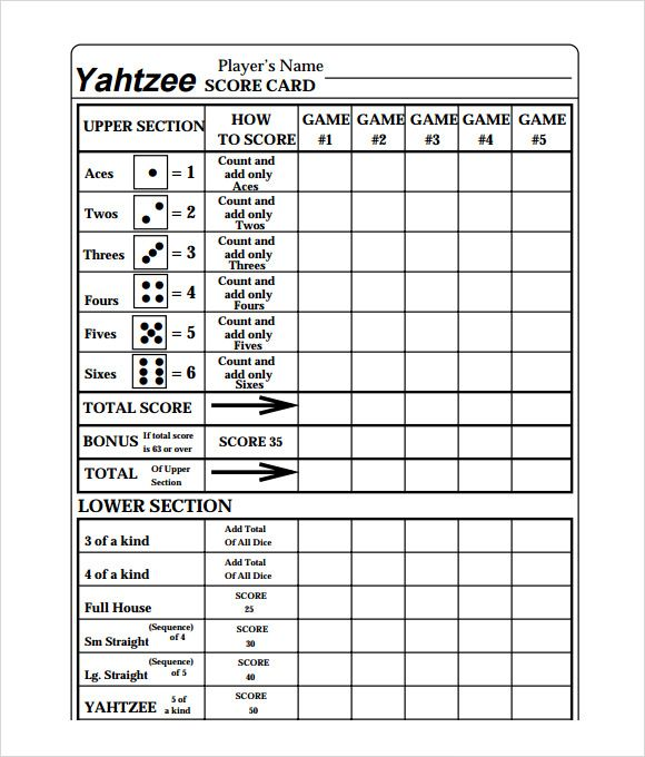 Free Yahtzee Score Card  Craftiness  Printables