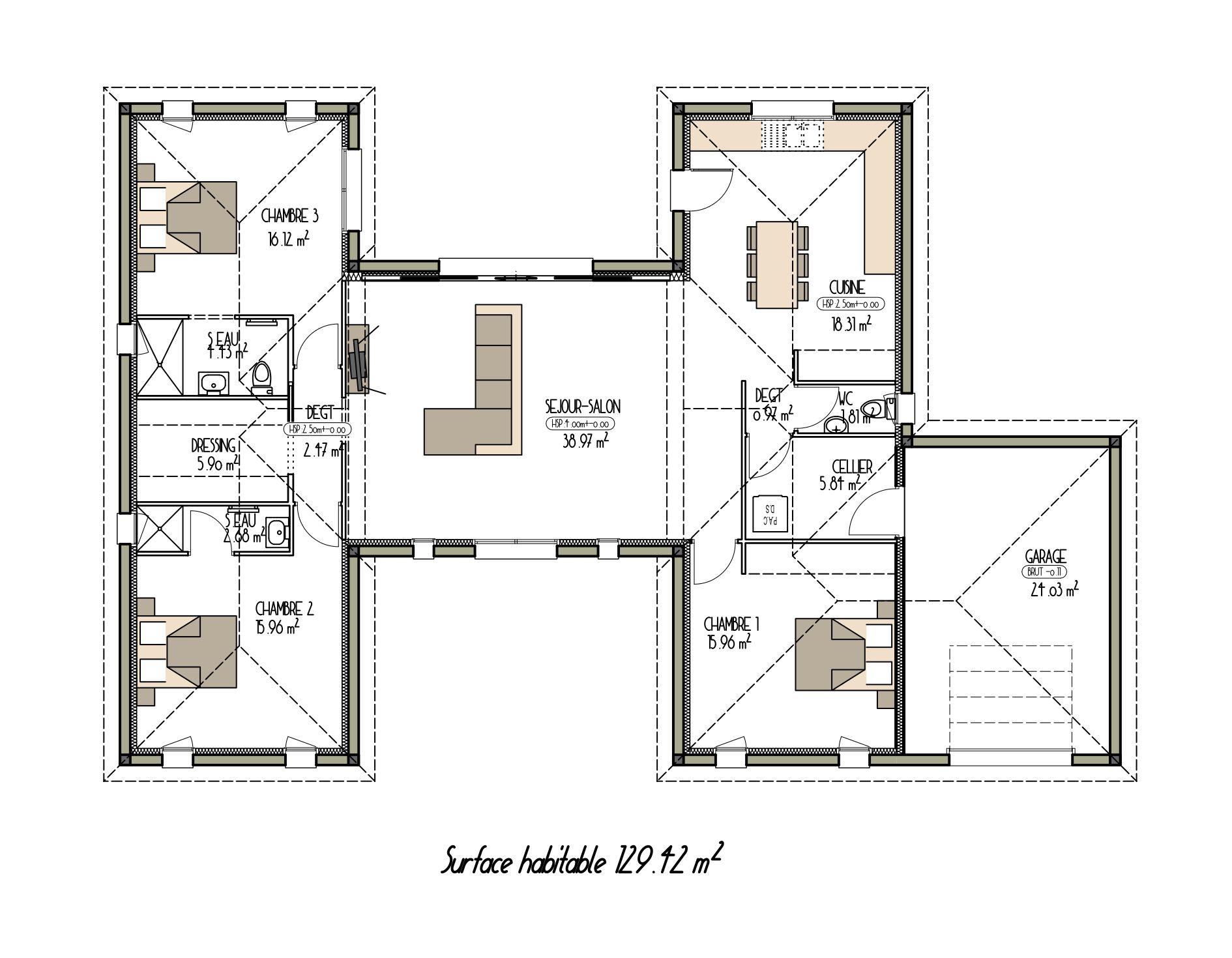 Plan De Maison Moderne De 130m Projet N 1 Plan Maison