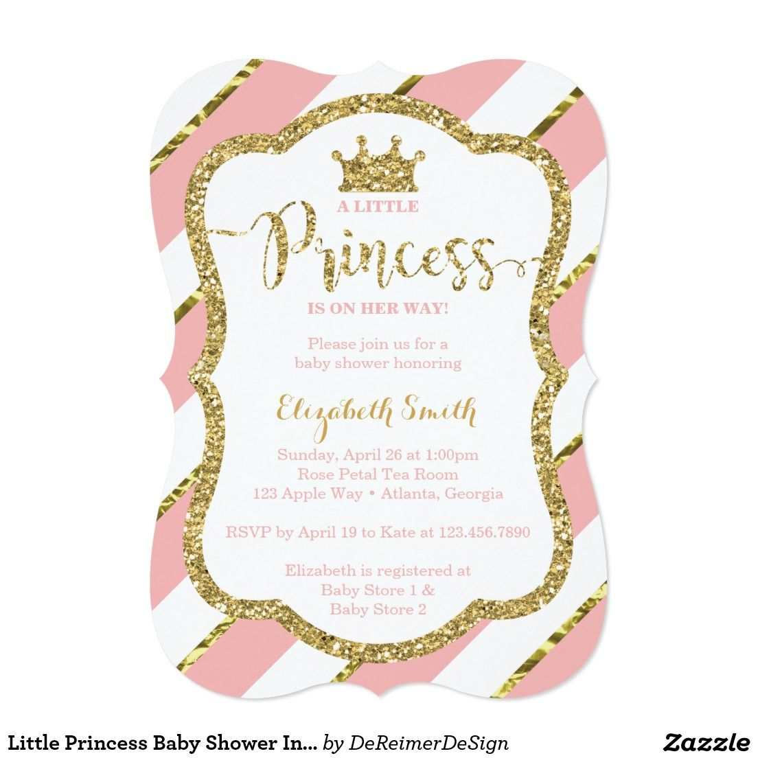 Little Princess Baby Shower Invitation, Pink, Gold Card | Baby ...