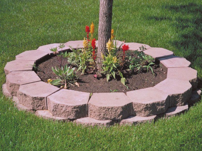 Keystone tree ring landscape pinterest tree rings for Garden block wall ideas