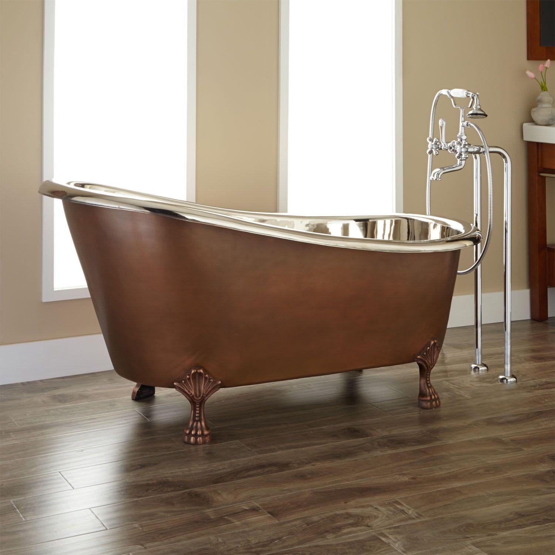 Brown Brushed Metal Clawfoot Tub With Nickel Freestanding Shower ...