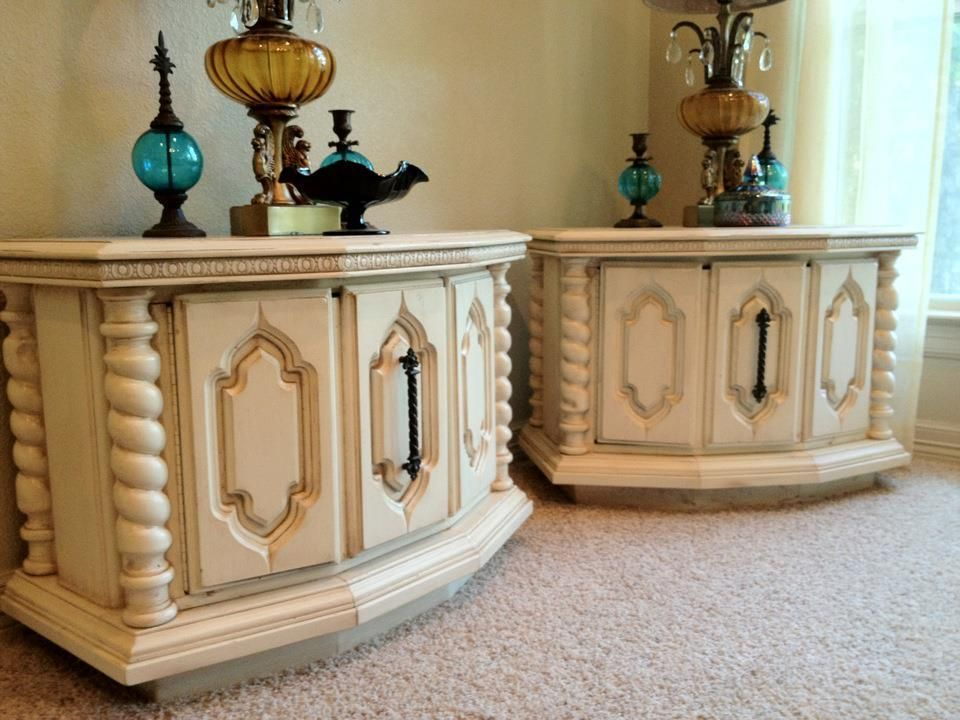 Pair of End Tables/Night Stands in Antique Cream  Lightly Distressed  Original Hardware