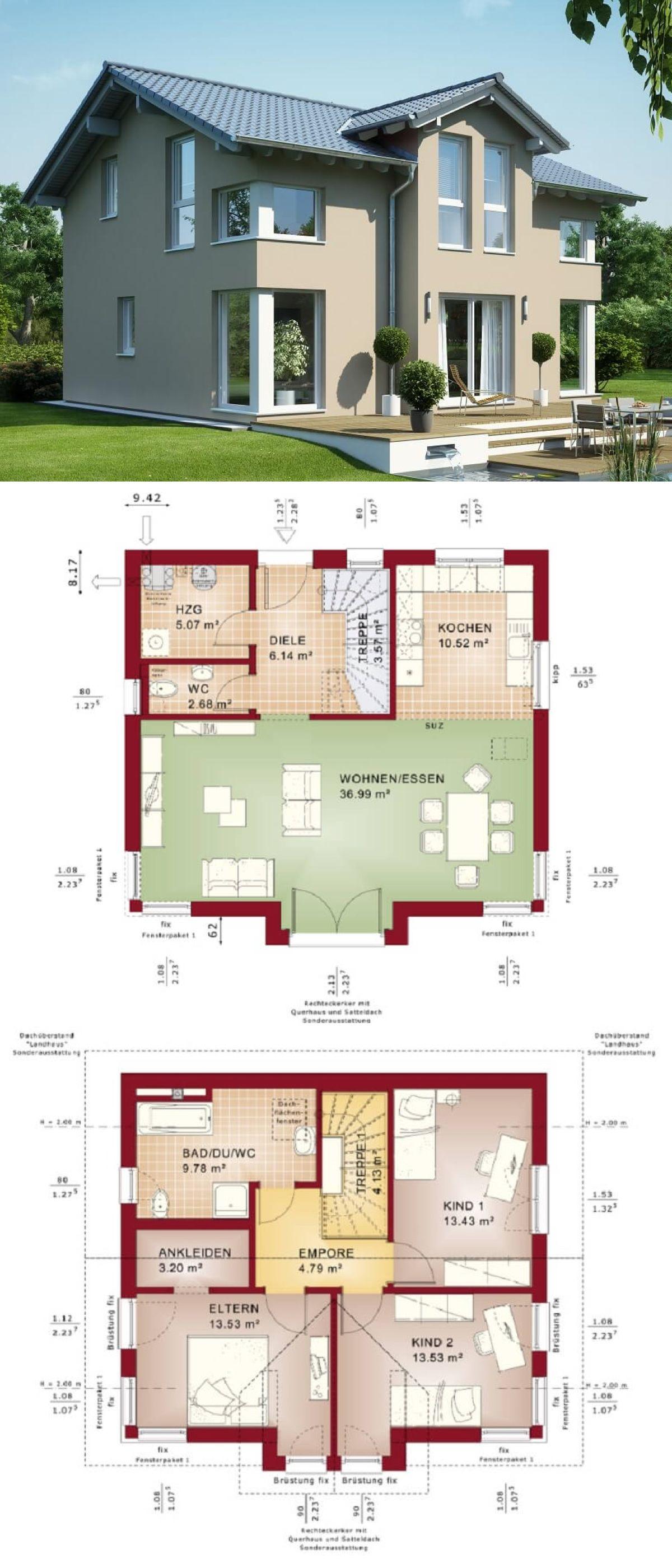 Captivating Einfamilienhaus Architektur Mit Satteldach U0026 Querhaus   Haus Bauen  Grundriss Fertighaus Evolution 125 V4 Bien Zenker