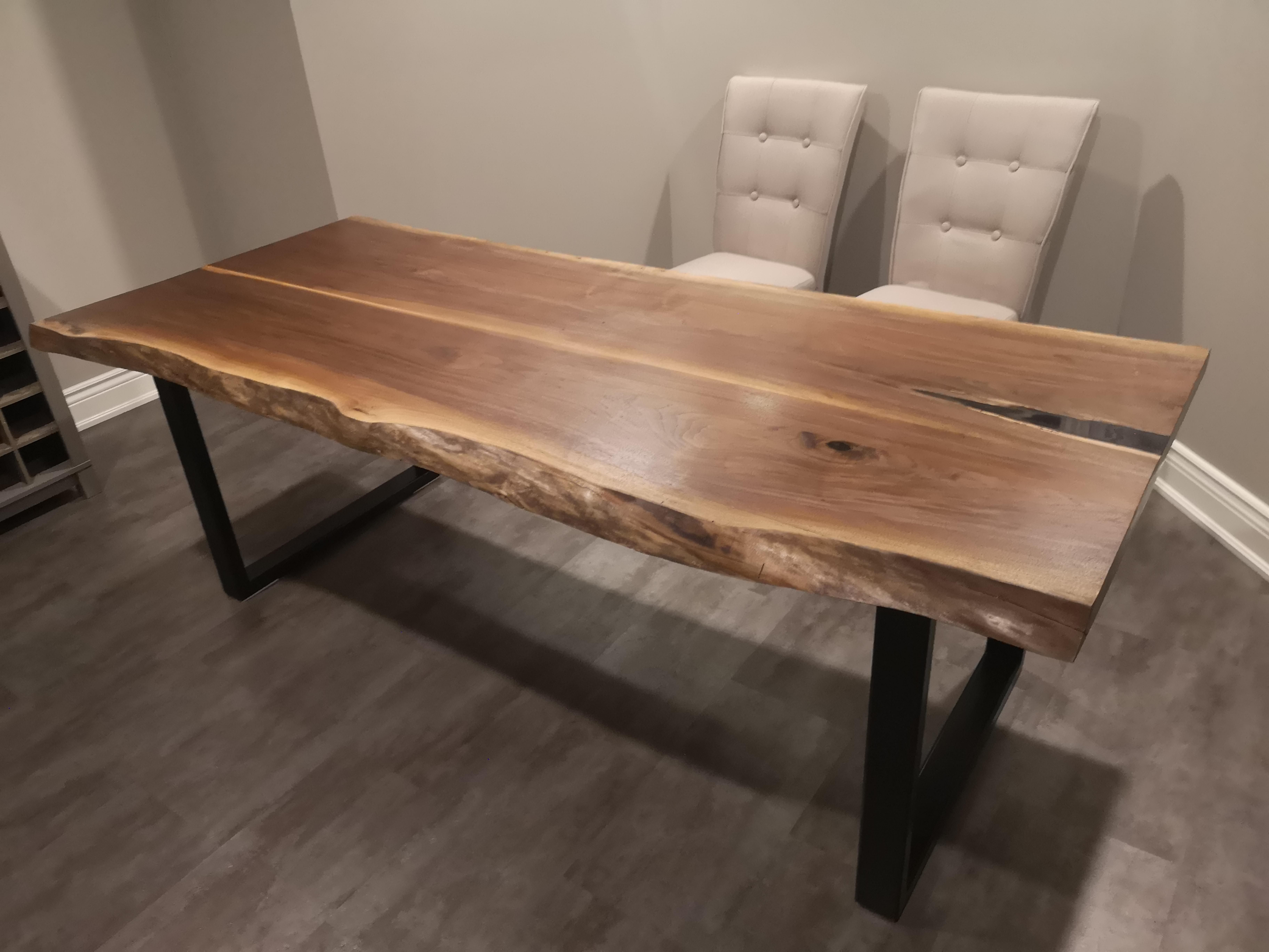 Finally Finished This Live Edge Black Walnut Dining Room Table Also My First Time Using Epoxy Click Walnut Dining Room Dining Room Table Walnut Dining Table