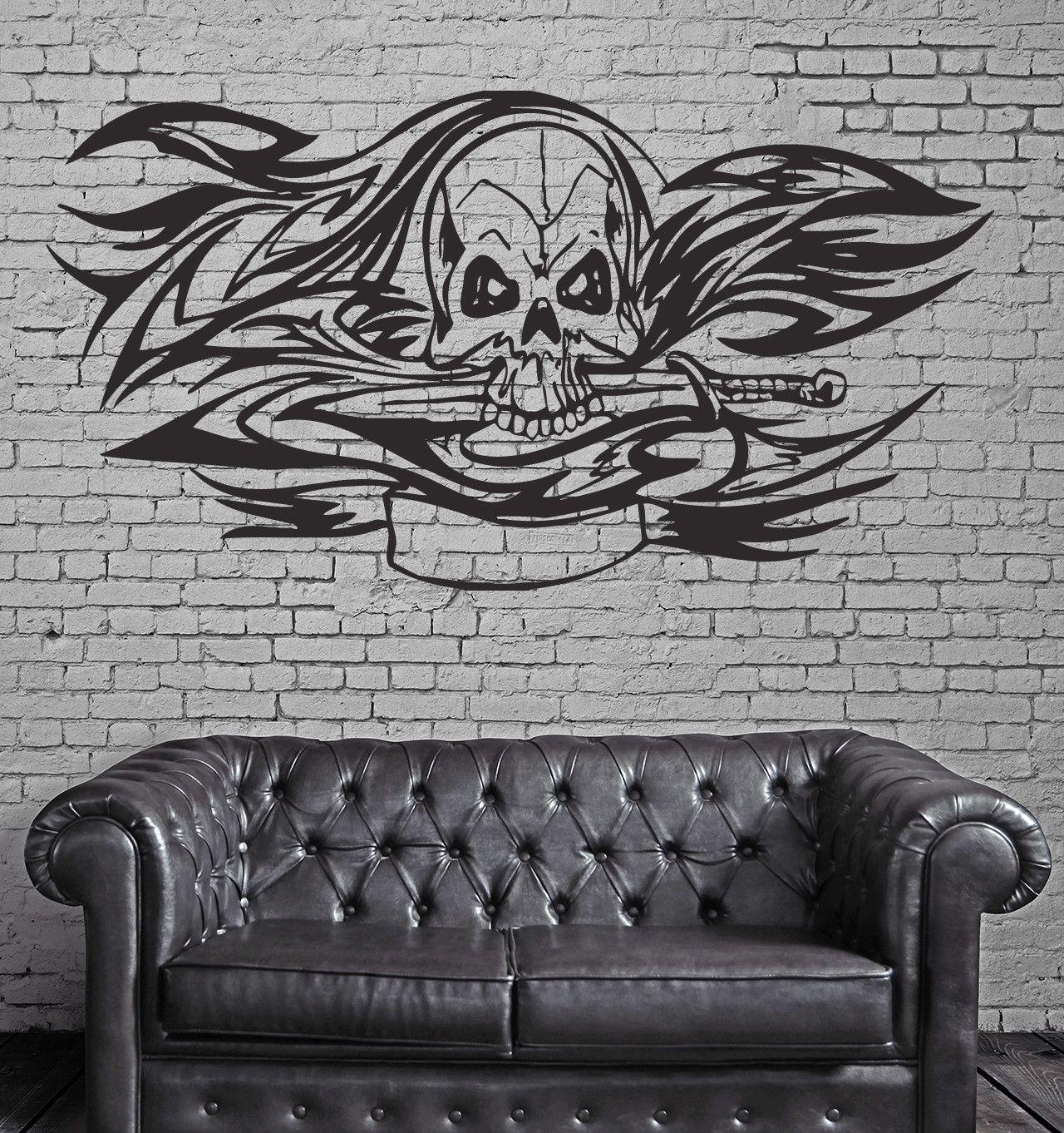 Floral skull aggressive predator tribal mural wall art decor vinyl