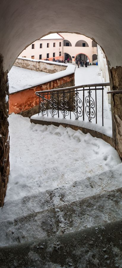 The staircase leads to the yard the Palanok Castle. Mukachevo. Ukraine.